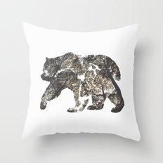 Bear Silhouette With Trees Throw Pillow