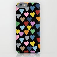 iPhone & iPod Case featuring Hearts #3 Black by Project M