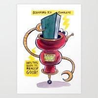 The Book-Reading Robot Art Print