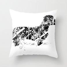 Dachshund in the snow Throw Pillow