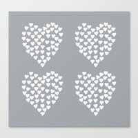 Hearts Heart x2 Grey Canvas Print