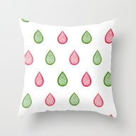 Pink And Green Raindrops Throw Pillow