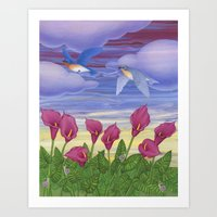 eastern bluebirds, purple calla lilies, and snails Art Print