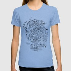 SHREDDER DOODLE Womens Fitted Tee Athletic Blue SMALL
