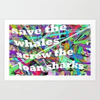 WHALES AND SHARKS Art Print
