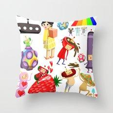 Katamari Characters Throw Pillow