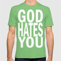 god hates you (white font) Mens Fitted Tee Grass SMALL