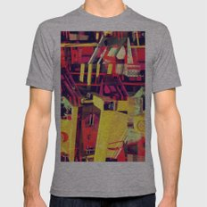 Industrial Abstract Red Mens Fitted Tee Athletic Grey SMALL