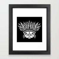 Tribal Pug Framed Art Print