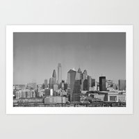 Black and White Philadelphia Skyline Art Print