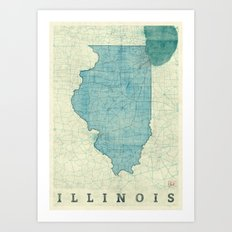 Illinois State Map Blue Vintage Art Print