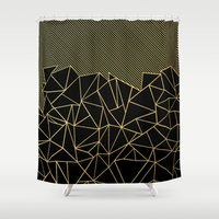 Ab Lines 45 Gold Shower Curtain