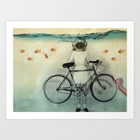 The diving bell cyclist Art Print