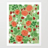 Roses And Strawberries O… Art Print
