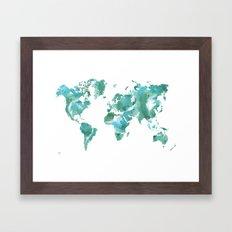 Watercolour World Map (mint/blue/green) Framed Art Print