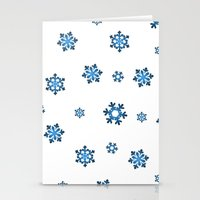 Snowflakes (Blue & Black on White) Stationery Cards