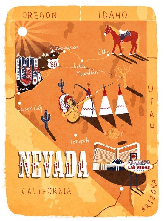 Nevada Map Art Print