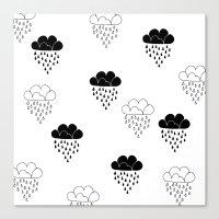Cute Clouds Balck And Wh… Canvas Print