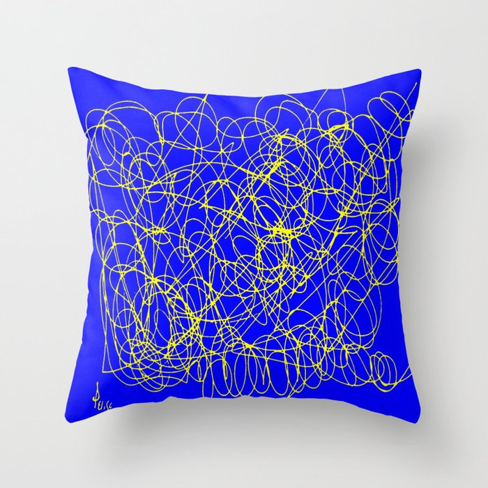 Throw Pillow Doodle : Doodle blue Throw Pillow by Osile Ignacio Society6