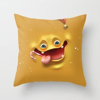 Christmas mad face Throw Pillow