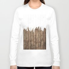 White Abstract Paint on Brown Rustic Striped Wood Long Sleeve T-shirt