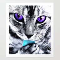 Purple Eyes Cat Art Print