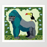 The Gorilla and The Toucan Art Print