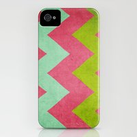 iPhone Cases featuring Cocktails with Lilly - Pink, Aqua, Green Chevron by CMcDonald