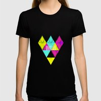 Paper Triangles ▵WHATEVER▵ Womens Fitted Tee Black SMALL