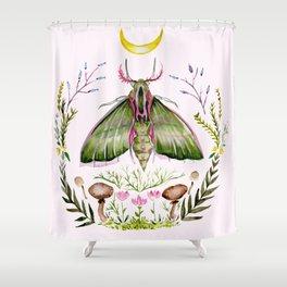 Shower Curtain - Pink Moth - Hannah Margaret Illustrations