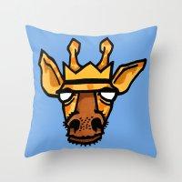 king giraffe Throw Pillow