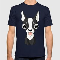 French Bulldog Mens Fitted Tee Navy SMALL