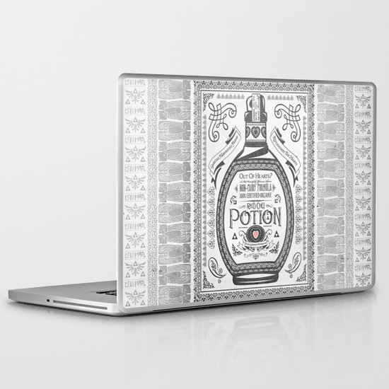 Legend of Zelda Red Potion Vintage Hyrule Line Work Letterpress Laptop & iPad Skin