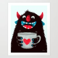 Demon with a cup of coffee (contrast) Art Print
