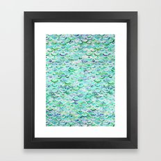 Marble Mosaic in Mint Quartz and Jade Framed Art Print