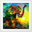 """ The old elephant knows where to find some water. "" Art Print"