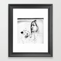 Thoughtful - Native American Indian Drawing  Framed Art Print