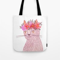 Cat with Floral Crown Tote Bag