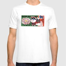 Botan Rice Candy Meow Mens Fitted Tee SMALL White