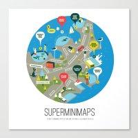 Sydney Swimming Spots Minimap by Alejandro Castillo Canvas Print