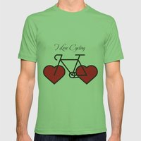 I love cycling Mens Fitted Tee Grass SMALL