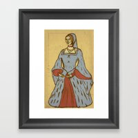 Queen Of Heads On Parchm… Framed Art Print