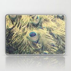 Peacock feathers photography blue green brown photography branches immortality royalty Laptop & iPad Skin