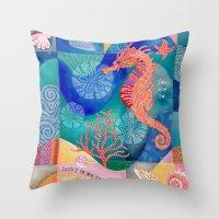 Seahorse collage Throw Pillow