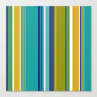 Turquoise And Yellow Str… Canvas Print