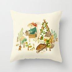 Critters: Summer Gardening Throw Pillow