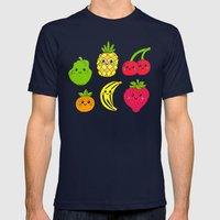 Kawaii Fruits Mens Fitted Tee Navy SMALL