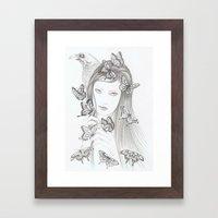 White Raven Framed Art Print