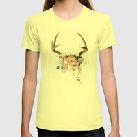 Floral Antlers V Womens Fitted Tee Lemon SMALL