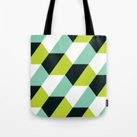 Lime green & turquoise hexagon pattern  Tote Bag